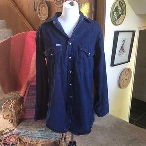 Vintage Carhartt Western Jean Shirt w/ Pearl Snaps